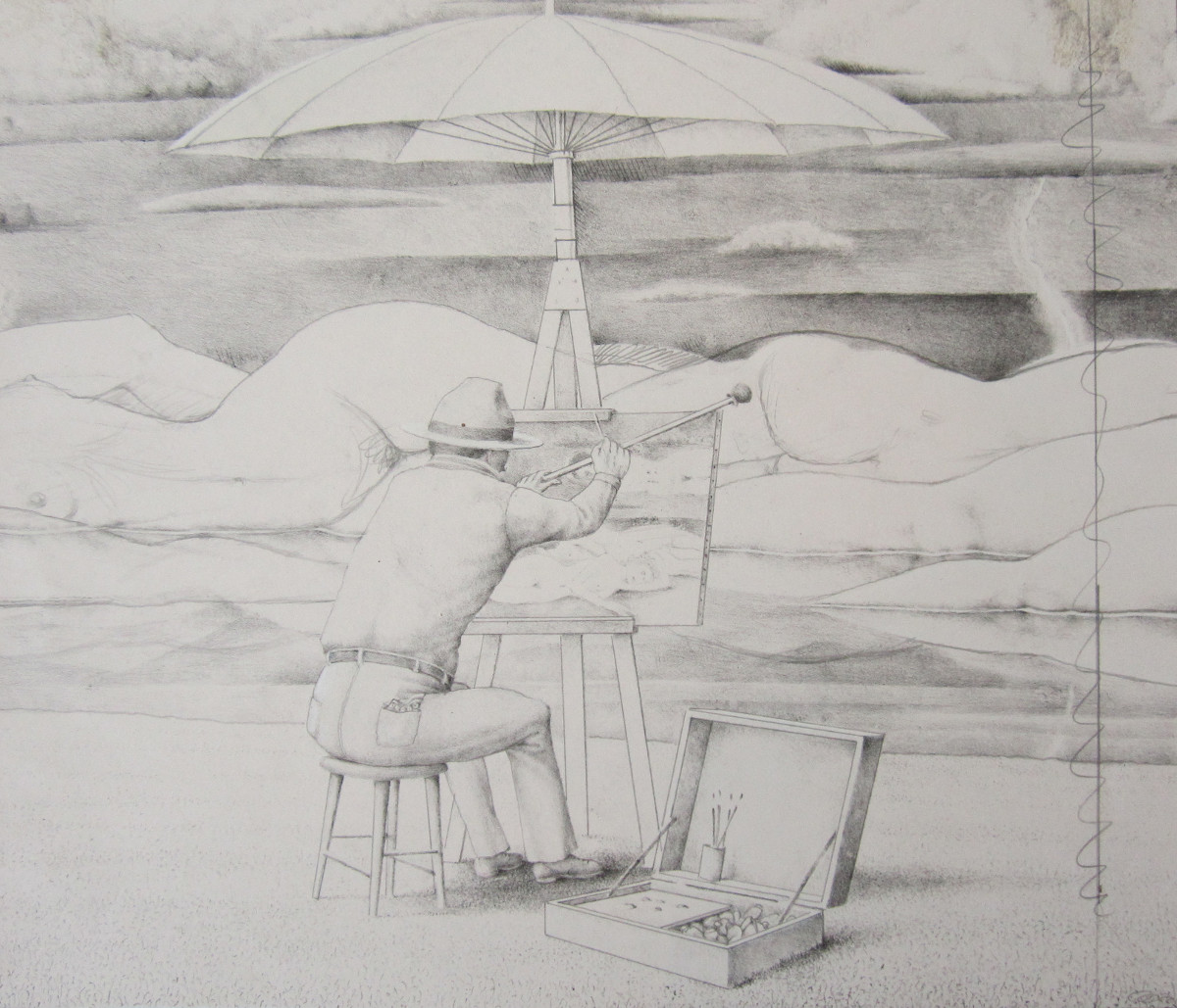 UNTITLED - STUDY FOR LECHEROUS LANDSCAPE, Pencil on Paper, 11 1/2 x 12 1/4""