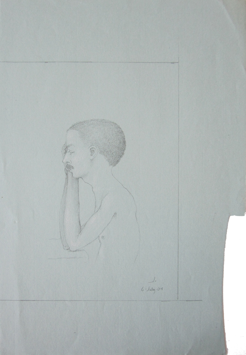 UNTITLED - PORTRAIT OF MAN LEANING ON TABLE, 6 July 2004, Charcoal on Grey Paper heightened with White Chalk, 19 x 12 1/2""