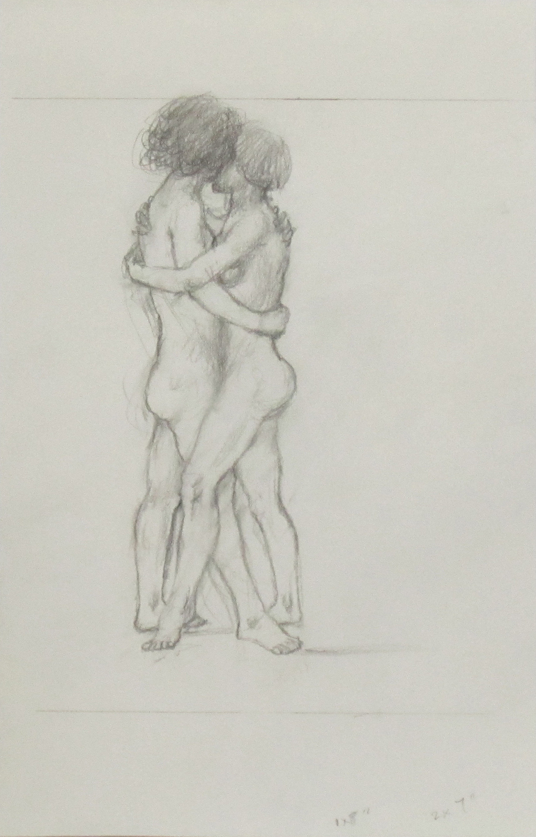 UNTITLED - TWO NUDE FEMALES EMBRACING, Pencil on Paper, 11 x 6""