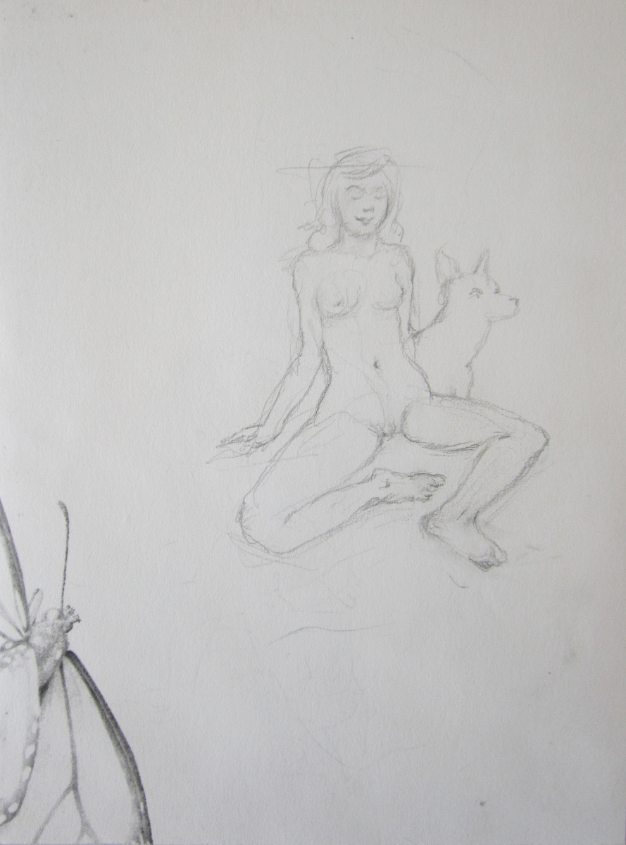 UNTITLED - WOMAN WITH DOG, Pencil on Paper, 9 x 7""