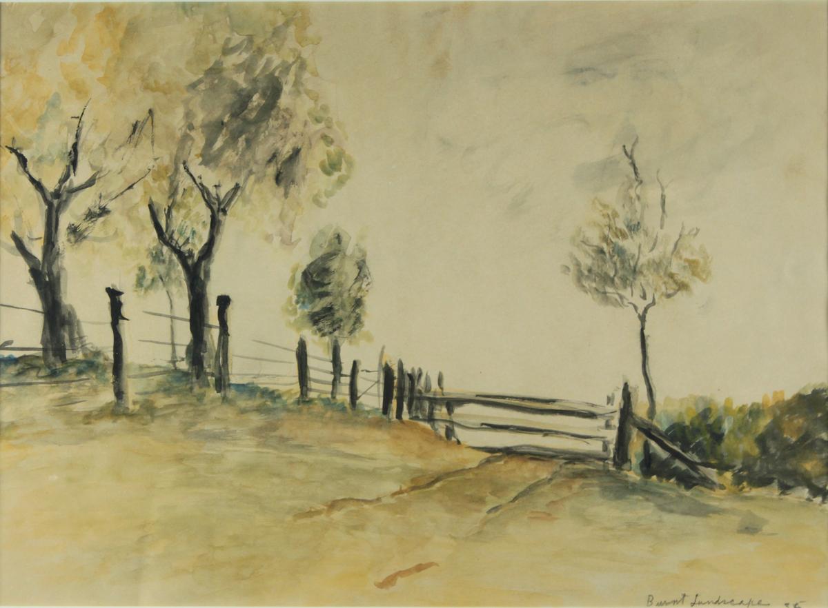 "BURNT LANSCAPE, 1936, Watercolor on Paper, 10 1/2 x 15"""