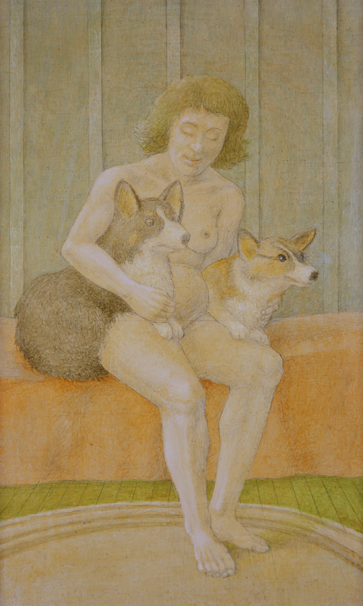 """SHIRLEY WITH BUGS AND BRYN, 2005, Oil on Canvas on Panel, 12 x 7"""""""
