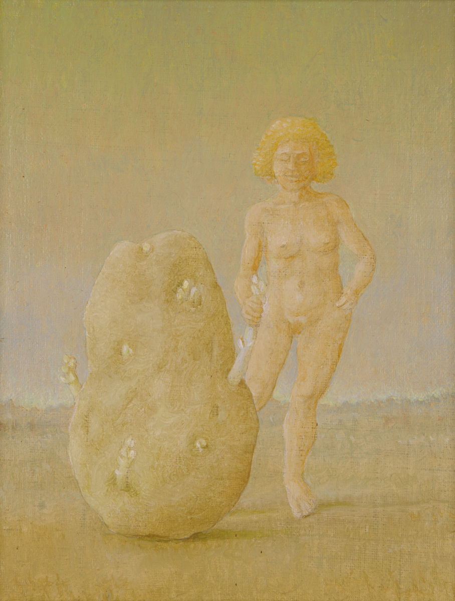 """SPROUTING - STUDY FOR EVENTIDE AT THE DUCHESS, 2005, Oil on Canvas Mounted on Panel, 9 x 7"""""""