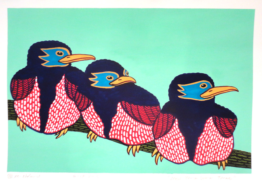 Michael Noland, NOW THERE WERE THREE, gouache on paper, image 8 x 12 inches