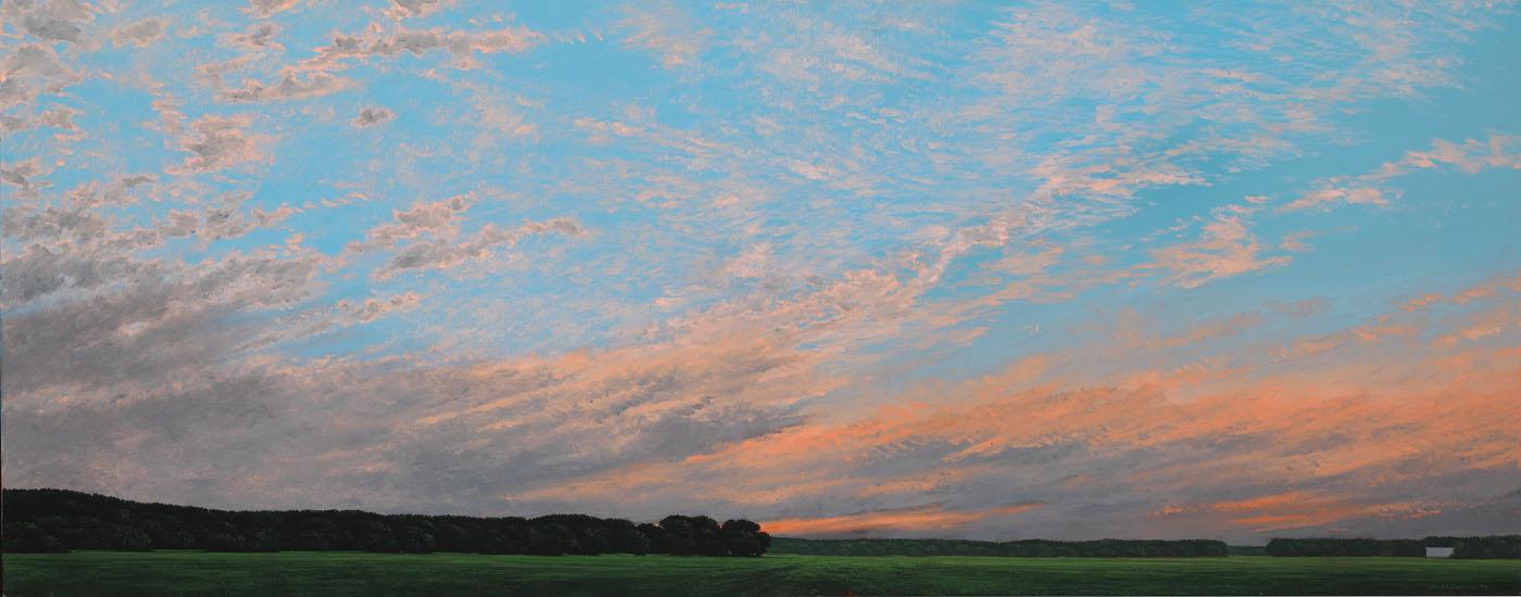 Keith Jacobshagen, AUGUST CICADAS, 18x46 inches, oil on canvas