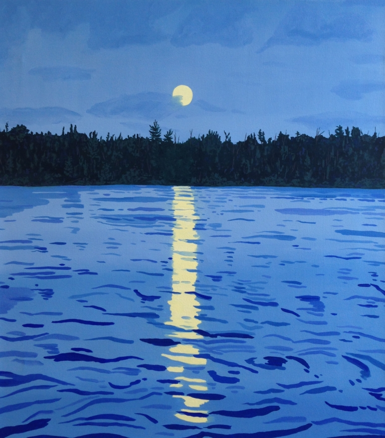 Breehan James, Moonrise on Knife Lake, oil on canvas, 30x34 inches