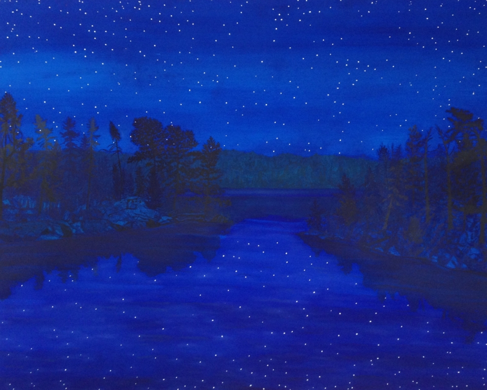 Breehan James, Seagull Lake Night, oil on canvas, 56x44 inches