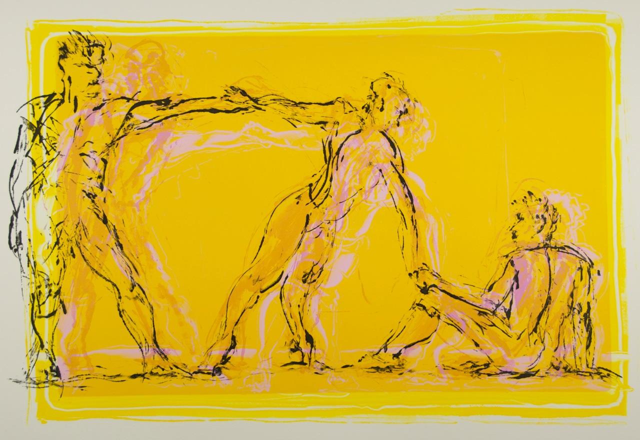 Jan Serr, SUMMER DANCERS II, monotype on paper, 22 x 29 inches