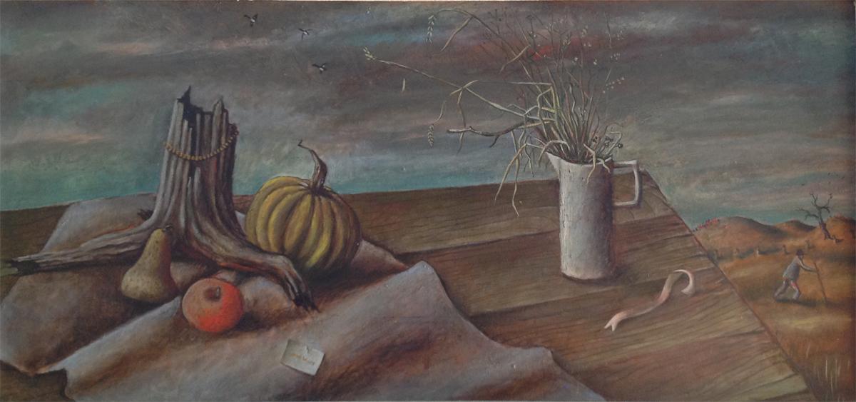 """NOVEMBER, 1941, Oil on Masonite, 24 x 48"""" framed 30 x 54"""""""