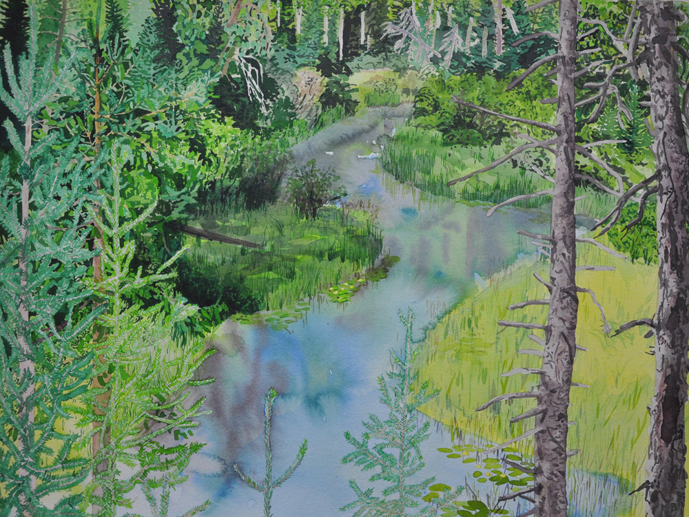 """Breehan James, FRENCH RIVER, Acrylic on Paper, 22 x 30"""" , framed: 27 x 34"""""""