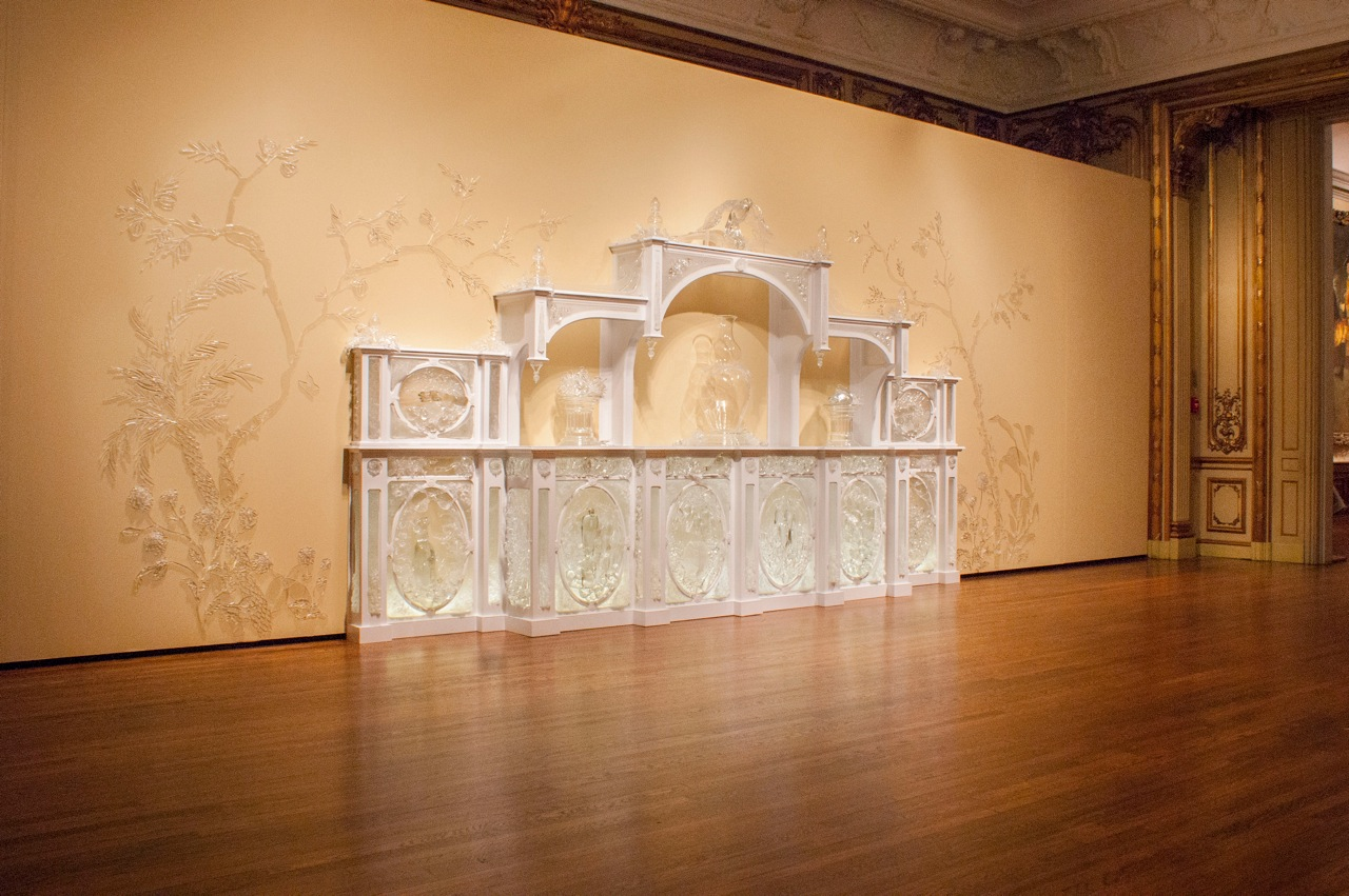 """Beth Lipman, Sideboard with Blue China, 2013, 111"""" x 300"""" x 22"""", glass, wood, paint, adhesive, light"""