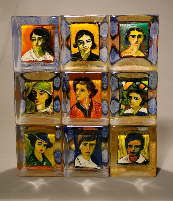 """Stephanie Trenchard, 9 SOVIET ARTISTS, Stacked Sand Cast Glass with Inclusions, 15.25 x 13.25 x 3.75"""""""