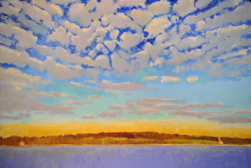 "Rodger Bechtold, SKY ABOVE PLUM ISLAND, Oil on Linen, 46 x 68"""