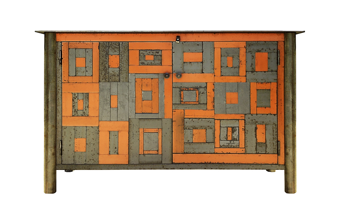 "TWO DOOR HOUSETOP QUILT CUPBOARD, Found Steel with Rust Patina and Paint, 56 x 16 x 35"" -  SOLD"