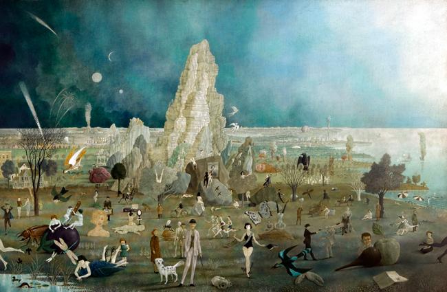 John Wilde, WILDE WORLD II (THE WAY THINGS SEEM TO BE), 1963–64; oil on wood panel; 21 1/2 x 33 in.