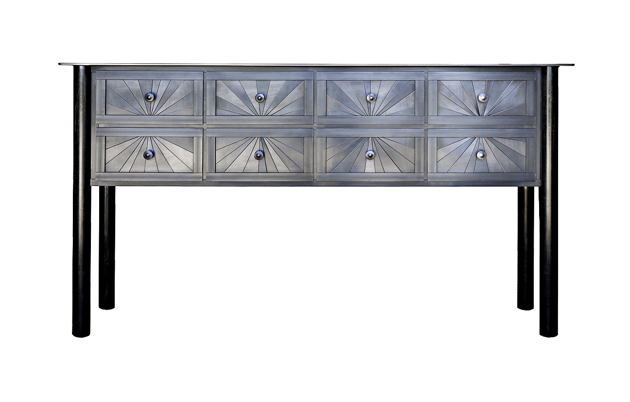 "TEN DRAWER STARBURST COUNTER, Hot Rolled and Found Painted Steel, 36 x 66 x 16 1/2"" -  SOLD"
