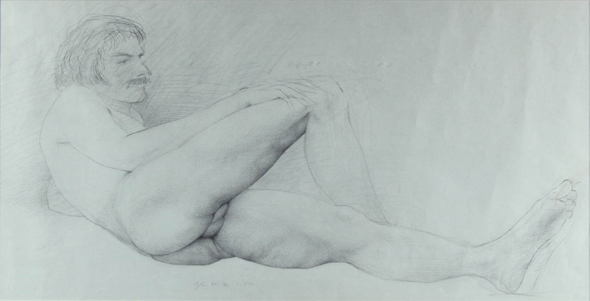 MALE NUDE, 1972, Graphite on Blue Paper, 10 x 20""
