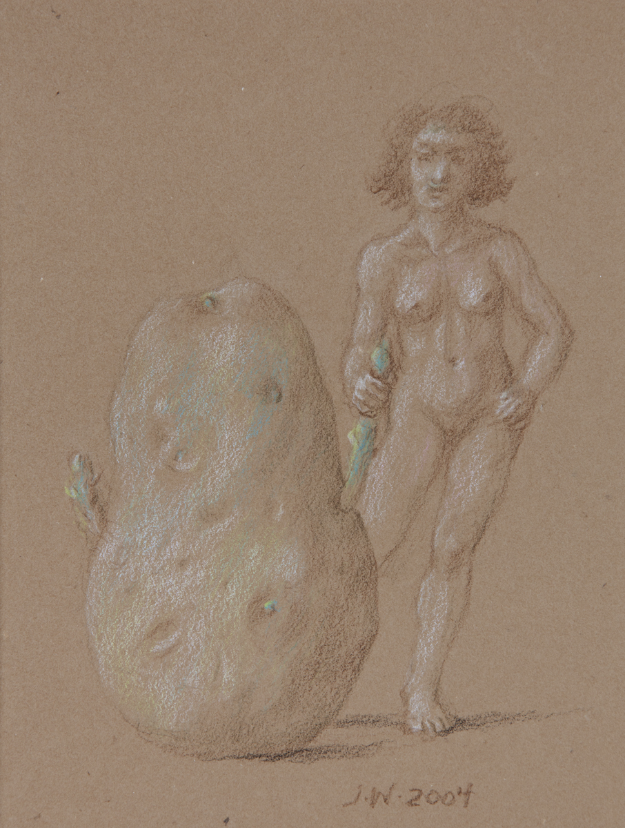 STUDY FOR E AT D'S #6 NUDE STANDING NEXT TO A POTATO, 2004, Black, Brown, and White Chalk on Brown Paper Heightened with Blue-Green Pastel, 8 1/2 x 6 1/2""