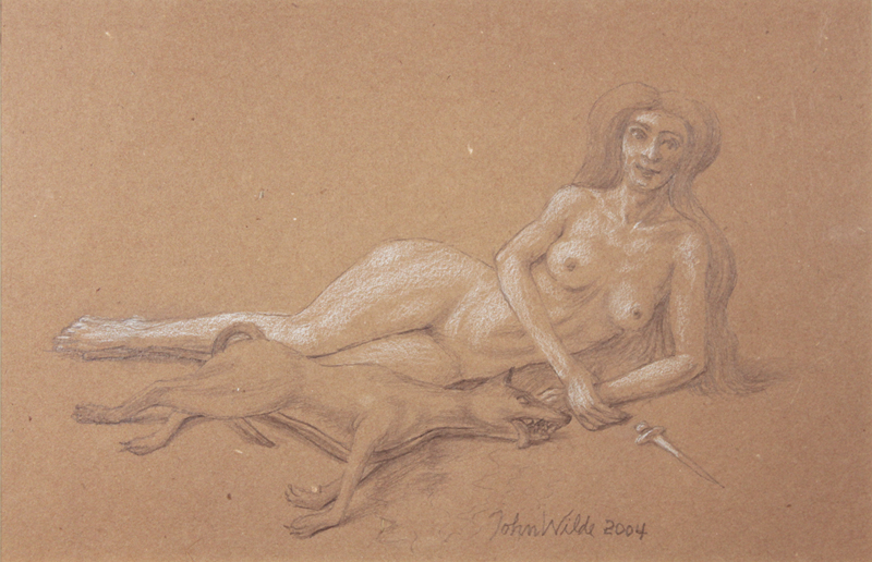 STUDY FOR E AT D'S #18 RECLINING NUDE WITH DEAD DOG AND A DAGGER, 2000, Pencil on Brown Paper Heightened with White Chalk, 8 1/2 x 11""