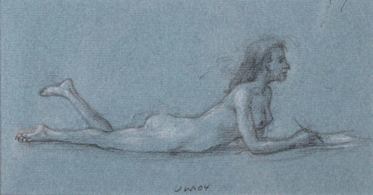 STUDY FOR E AT D'S #7 PRONE NUDE DRAWING, 2000, Charcoal on Blue Paper Heightened with White Chalk, 4 1/2 x 8 1/2""