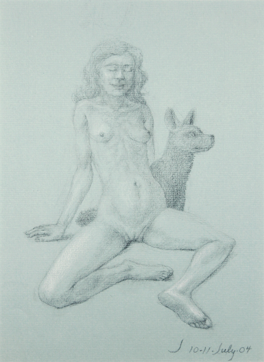 STUDY FOR E AT D'S #12 SEATED NUDE WITH DOG, 2004, Pastel and Pencil, 19 1/2 x 12 1/2""
