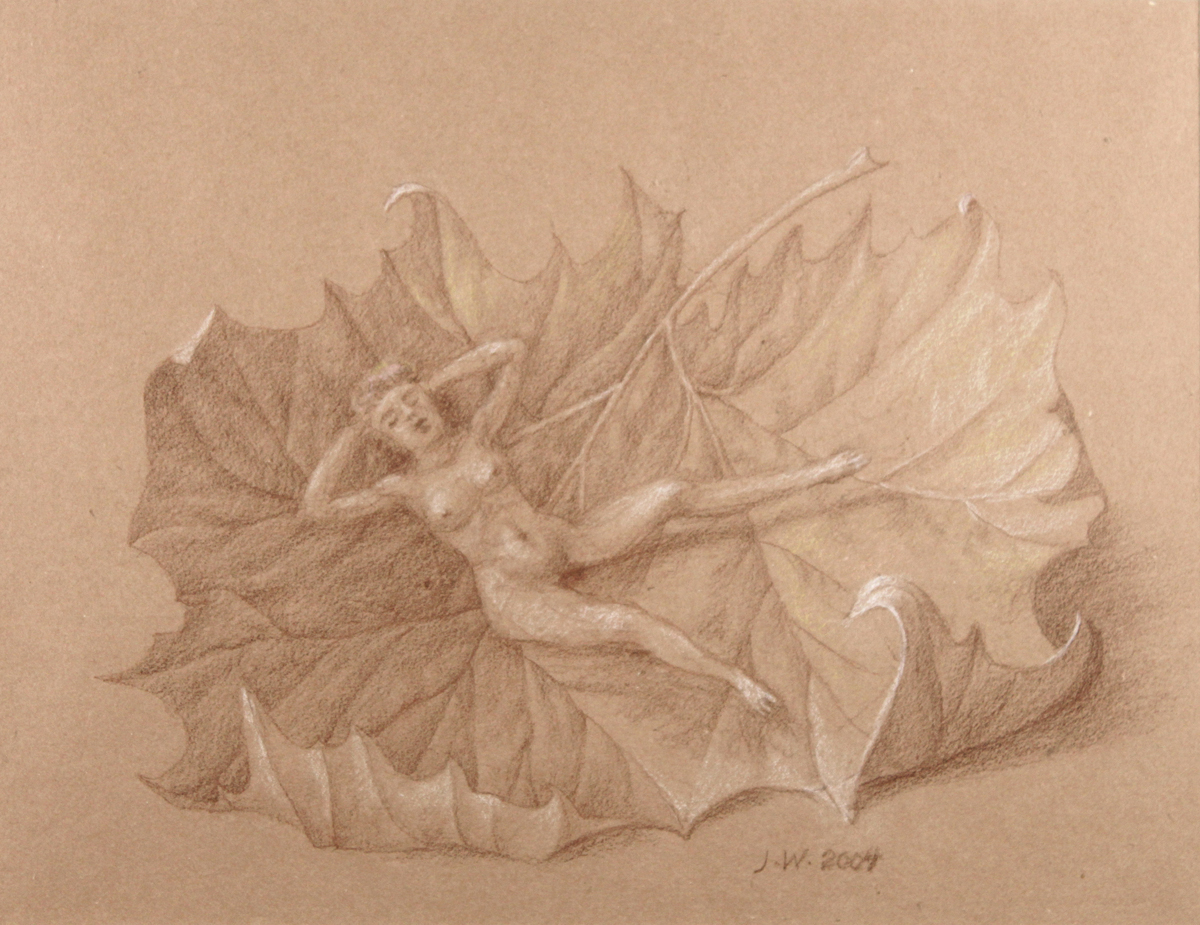 STUDY FOR E AT D'S #11 RECLINING NUDE ON A SYCAMORE LEAF, 2004, Pencil on Brown Paper Heightened with White Chalk, 8 3/4 x 11 5/8""