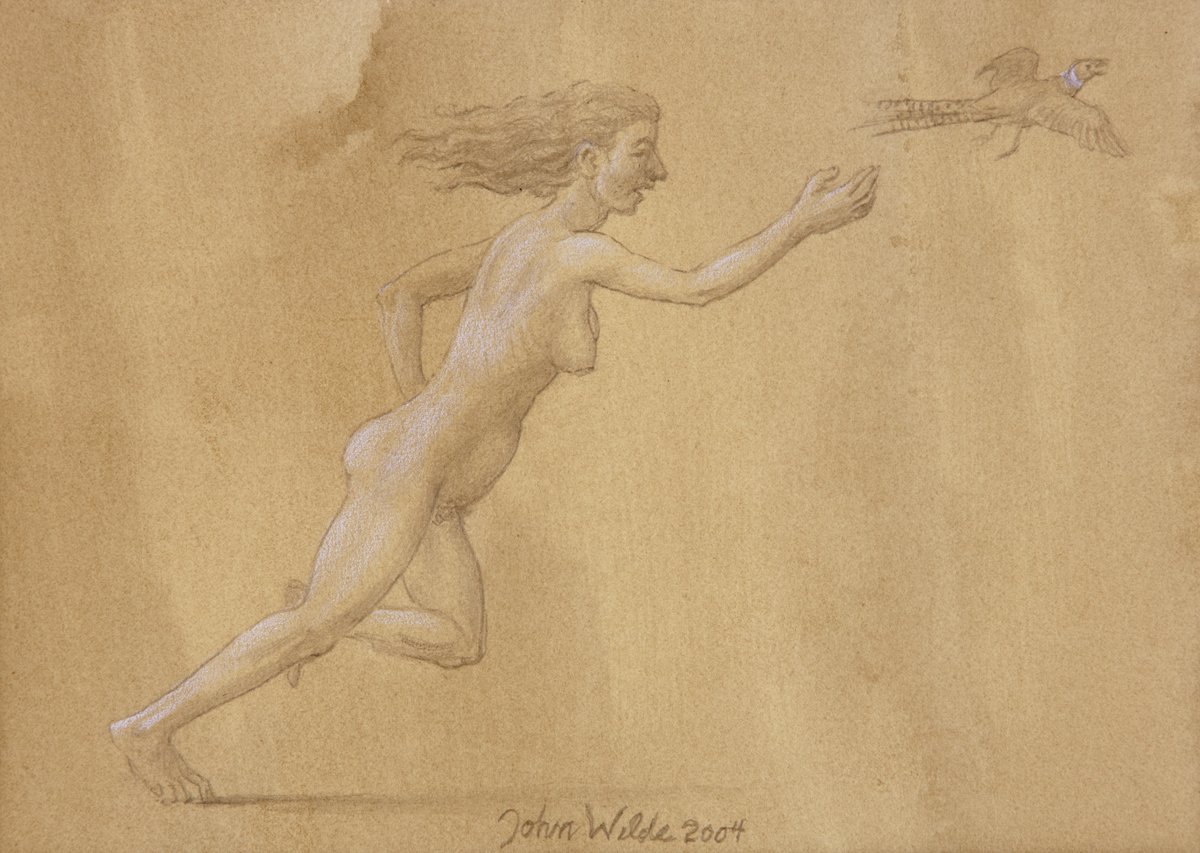 STUDY FOR E AT D'S #4 NUDE CHASING A PHEASANT, 2004, Pencil on Toned Paper Heightened with White Chalk, 6 1/2 x 8 1/2""