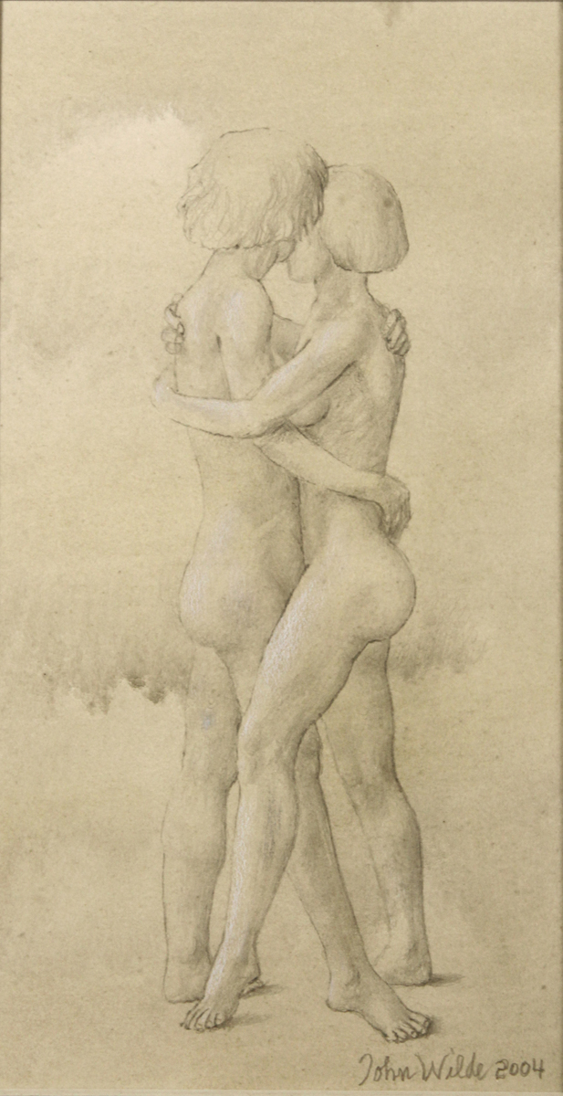 STUDY FOR E AT D'S #16 TWO FEMALES EMBRACING, 2004, Pencil with Wash heightened with White Chalk on Toned Paper, 9 1/2 x 5 1/2""