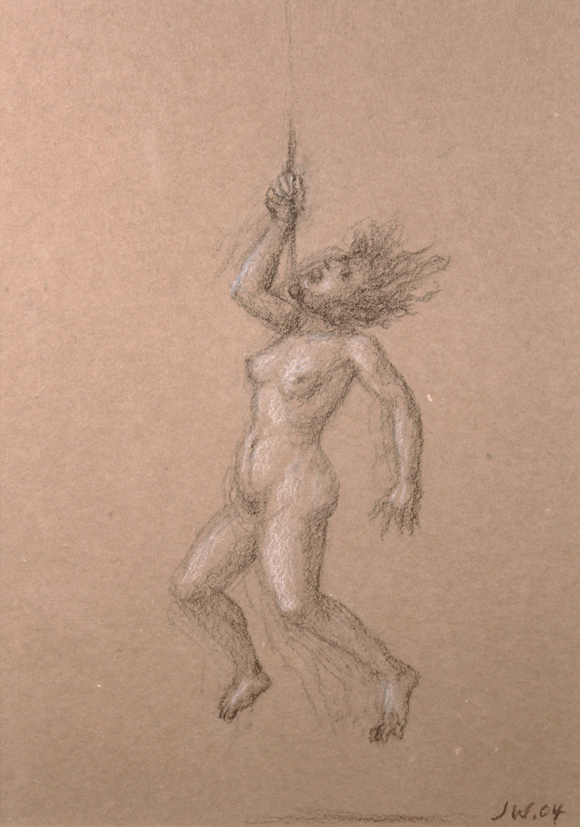 STUDY FOR E AT D'S #15 HANGING NUDE, 2004, Charcoal heightened with White Chalk, 9 1/2 x 7""