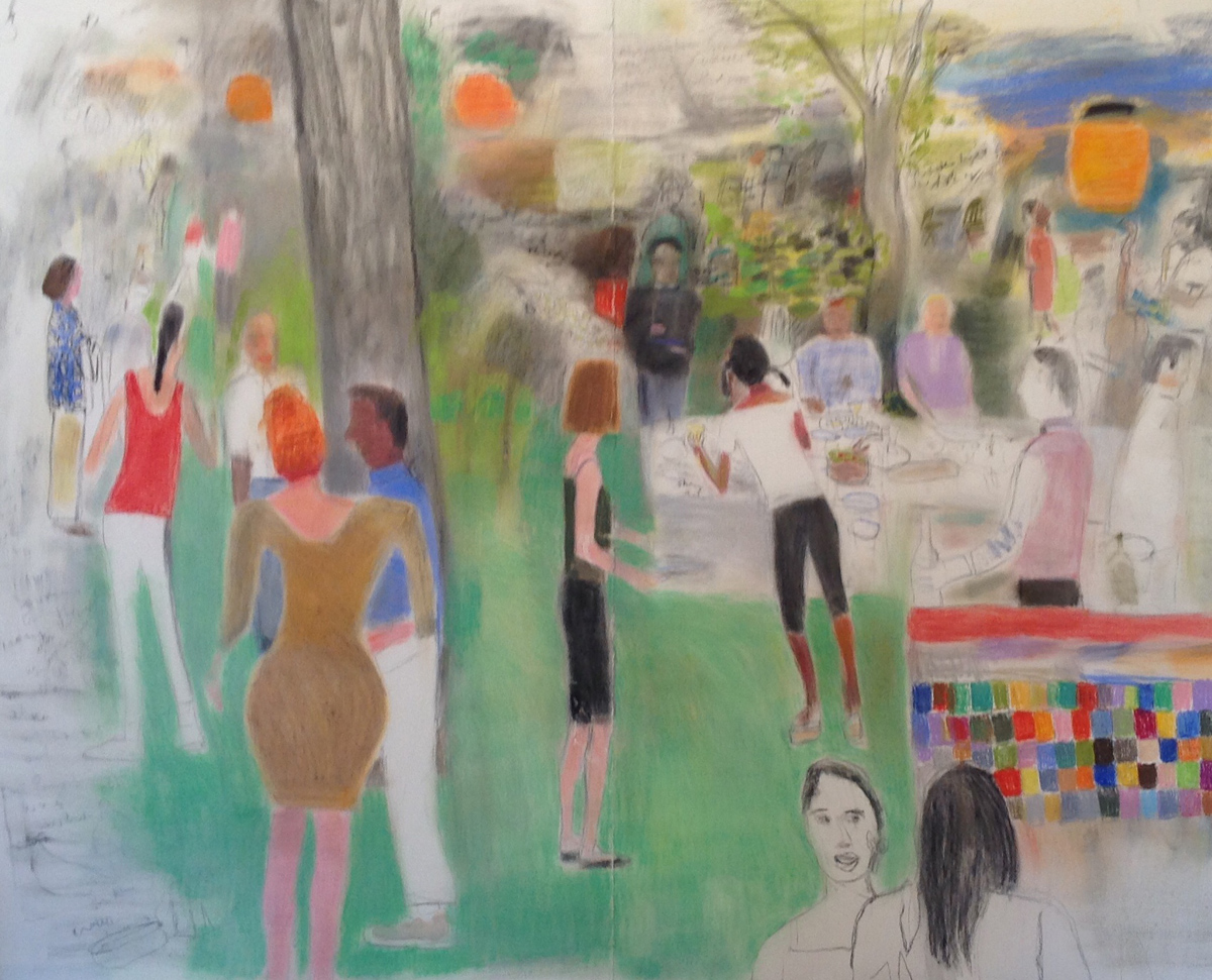 GARDEN PARTY, Mixed Media Drawing, 67 x 83""