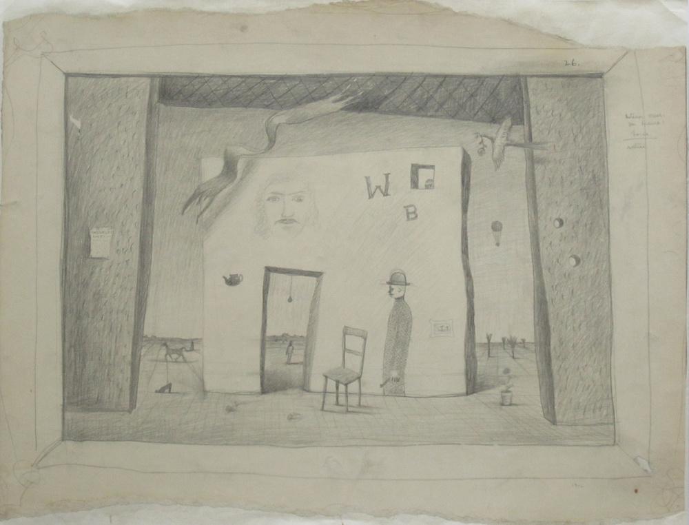 """INTERIOR SCENE FOR DRAMA: LORCA, 1942, Pencil on Paper, 15 3/4 x 20 1/4"""""""