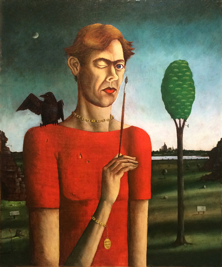 UNTITLED (MAN WITH ONE EYE CLOSED), 1941, Mixed Media on Masonite, 24 1/4 x 18 1/4""