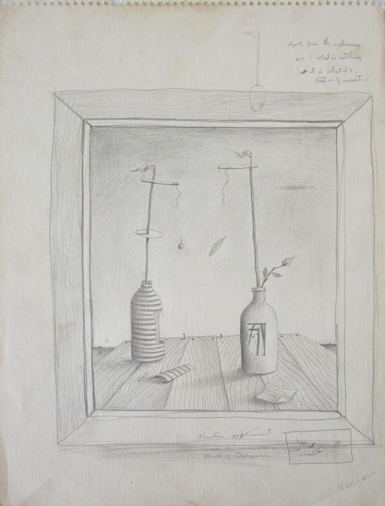 "NEWTON'S WORLD OF VACUUM, c. 1942, Graphite on Paper, 13 3/4 x 10"""