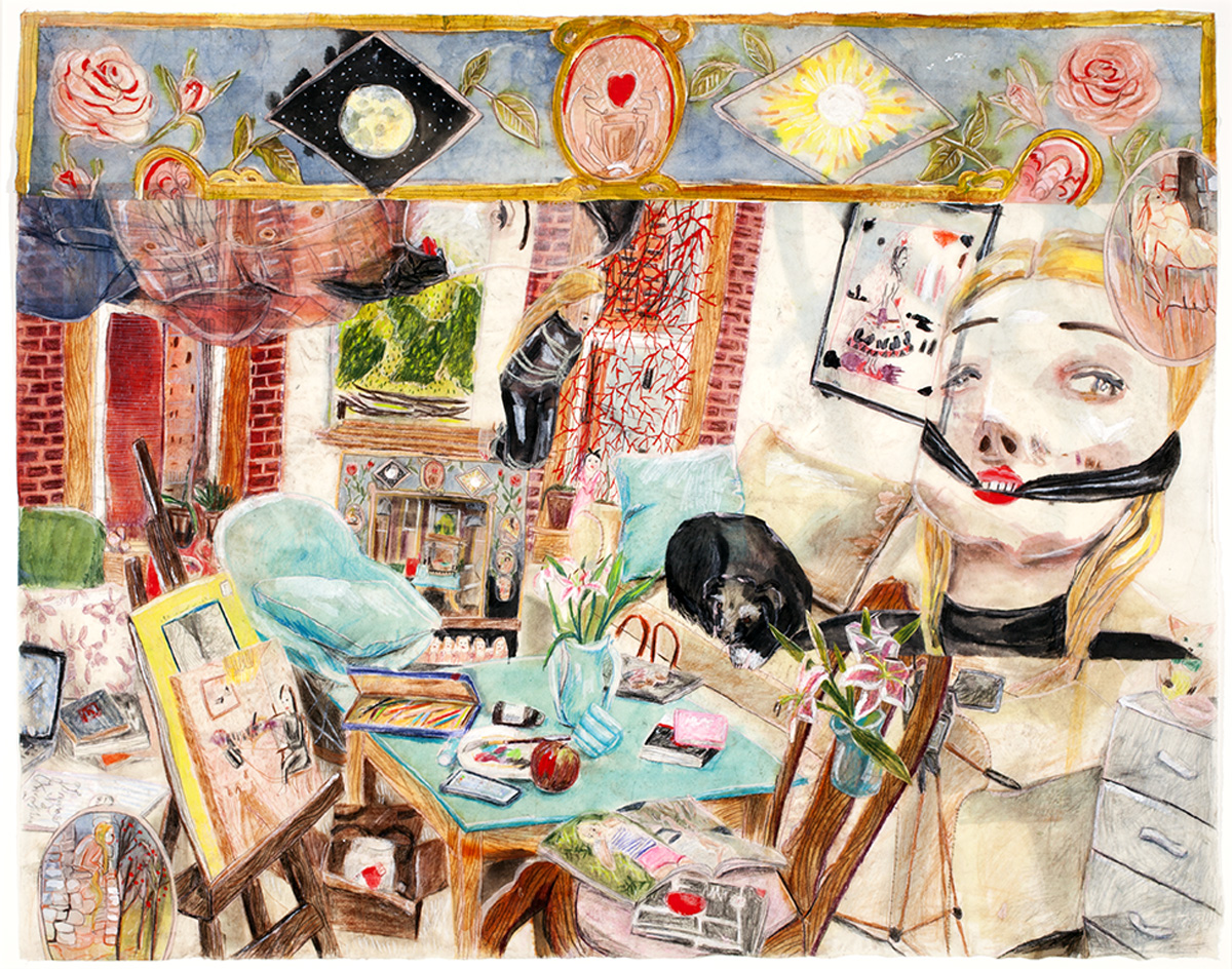 """THE APARTMENT, Acrylic, Colored Pencil, and Wax on Rice Paper, 31 x 38"""""""