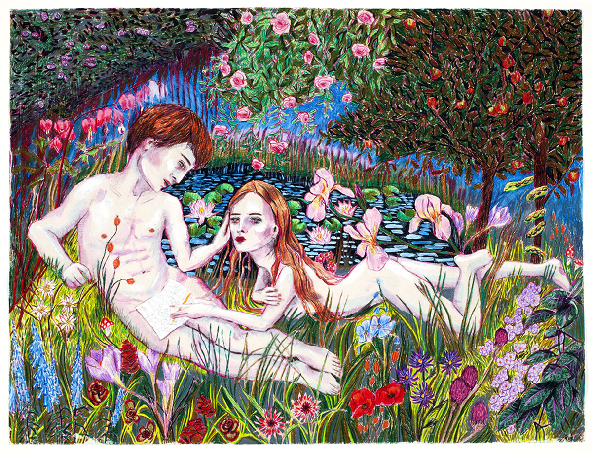 """ADAM AND EVE IN THE GARDEN, Acrylic, Colored Pencil, and Gold Leaf, 19 x 25"""""""
