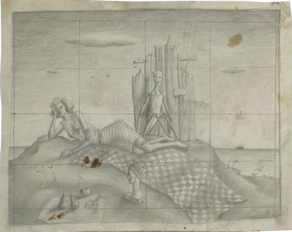 """John Wilde, UNTITLED (DESIGN FOR RECLINING WOMAN WITH SKELETON), c. 1940, Pencil on Paper Mounted on Paper, 12 1/2 x 15 1/2"""""""