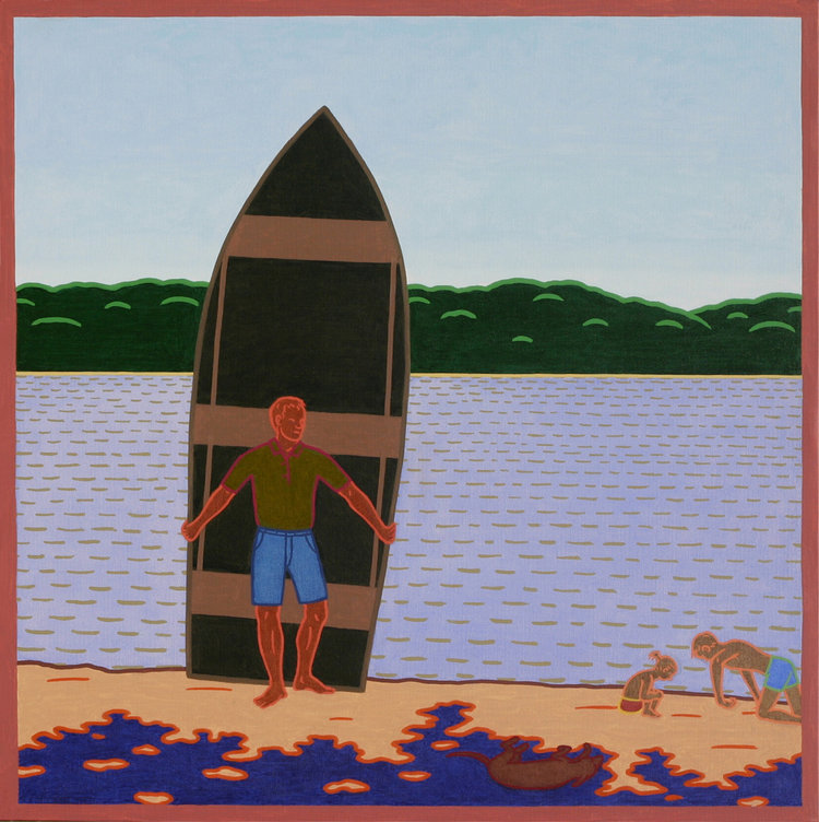 CARRYING THE BOAT I, Oil on Canvas, 20 X 20""