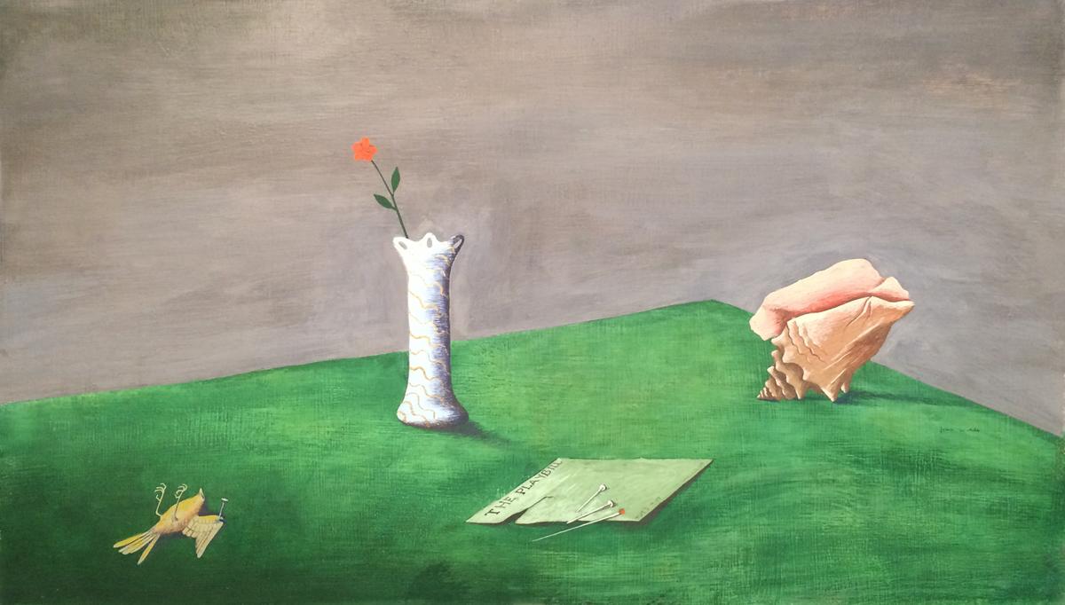"UNTITLED (STILL LIFE WITH PLAYBILL, VASE, SHELL, AND DEAD BIRD), c. 1940-1942, Mixed Media on Masonite, 20 1/2 x 25"" framed 21 x 32 1/2"""