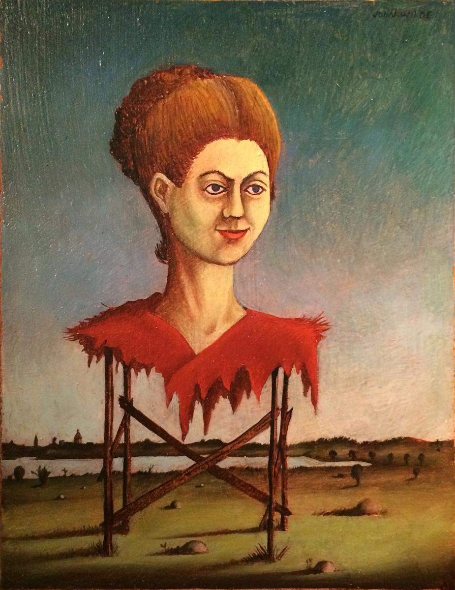 "UNTITLED (WOMAN ON SCAFFOLDING), c. 1940-1942, Mixed Media on Masonite, 9 1/2 x 7 1/2"""