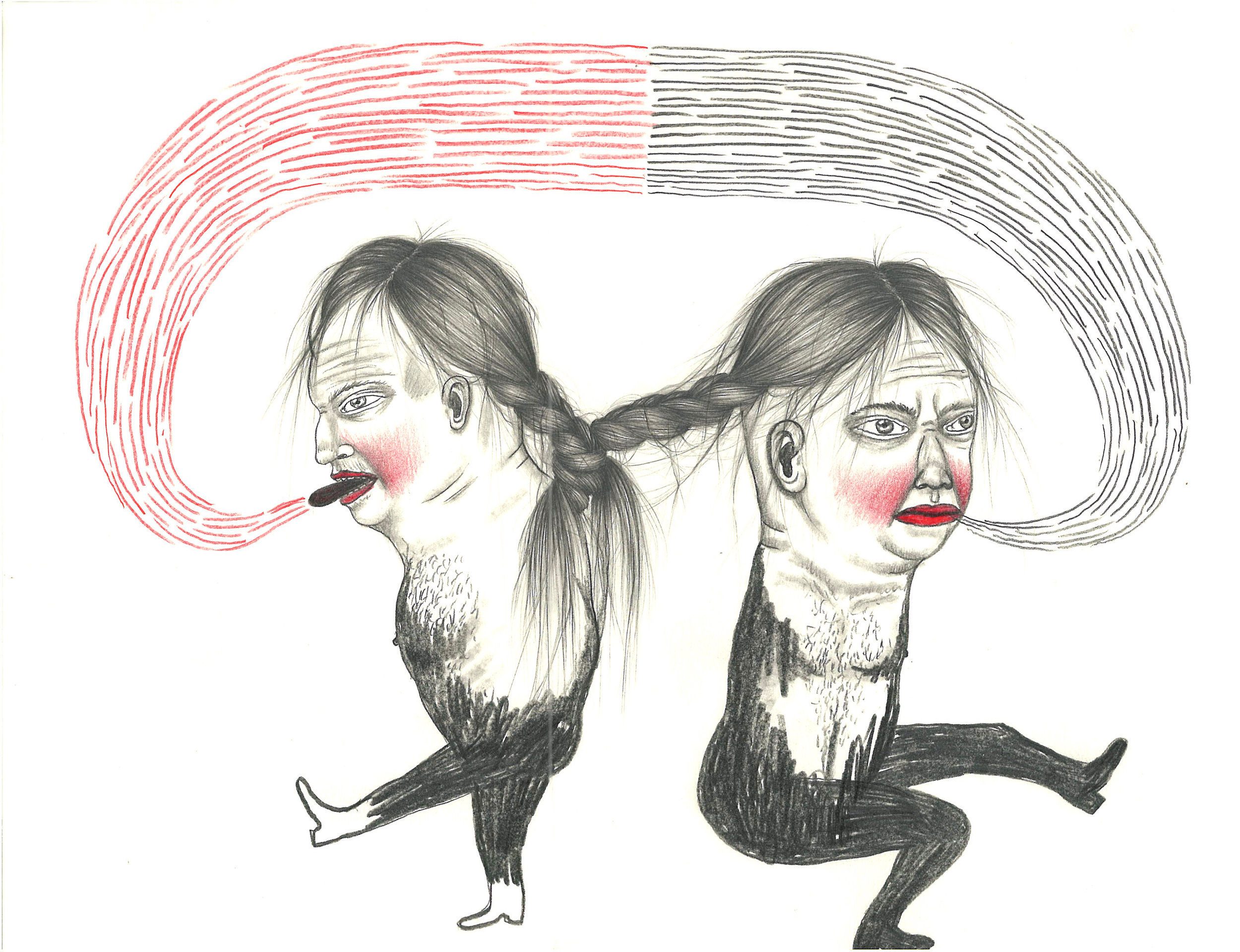 """Fred Stonehouse and Raeleen Kao, TWINS, Graphite and Colored Pencil on Paper, 12 x 9"""""""