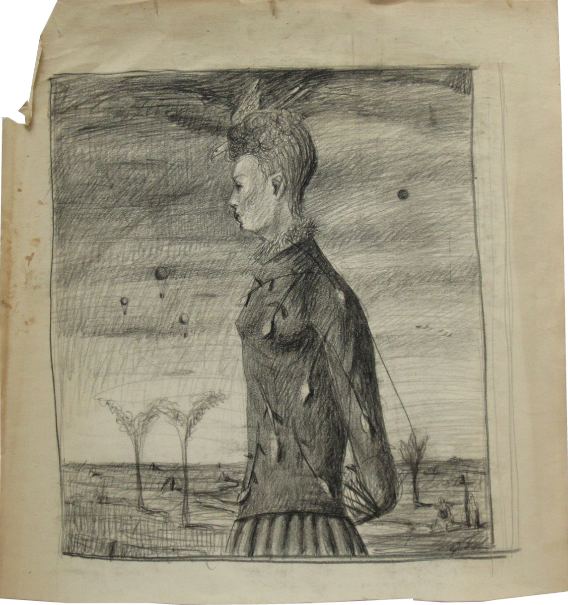 UNTITLED - WOMAN WITH PHEASANT ON HER HEAD, Charcoal on Paper, 19 1/2 x 18""