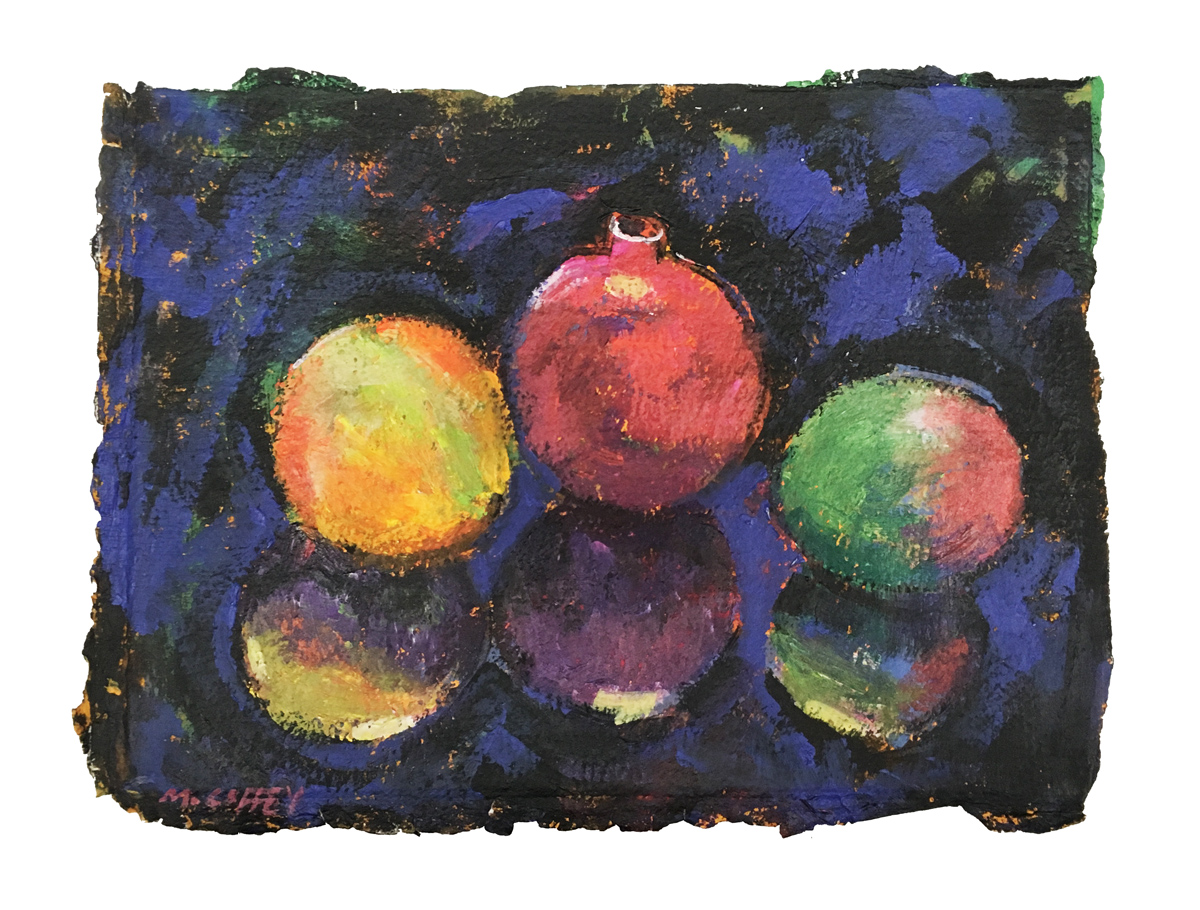 """ORNAMENTS, Acrylic on Homemade Paper, 11 1/2 x 15 1/2"""""""