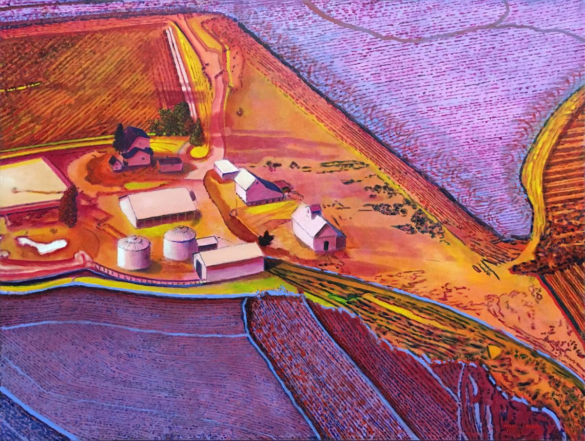 "FLATSCAPE #114, Acrylic on Canvas, 30 x 40"""