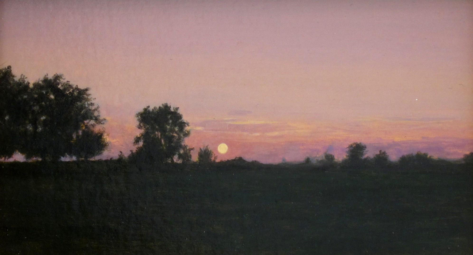 """SUNSETTING, Acrylic on Panel, image 3 1/2 x 6"""" framed 7 1/2 x 10"""""""