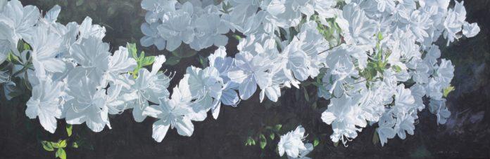 "James Winn, ""Azaleas,"" acrylic on panel, 24 x 72 in. © Tory Folliard Gallery"