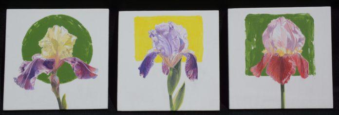"""James Winn, """"Iris,"""" acrylic on paper, 6 x 6 in. (each) © Tory Folliard Gallery"""