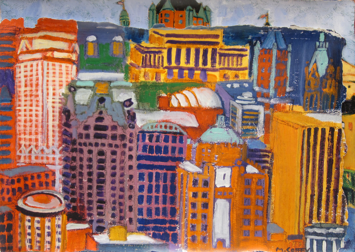 """DOWNTOWN MILWAUKEE FROM ABOVE, Giclee Print, 26 x 40 1/2"""""""