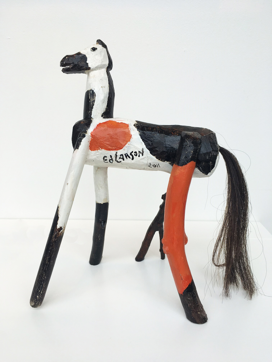 """SPOT, Painted Wood and Horse Hair, 18 x 7 x 12"""""""