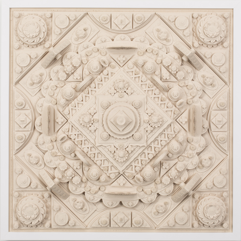 "Michael Velliquette,  Untitled 1 (Rupa) , Paper sculpture, 25"" x 25"" x 3"""