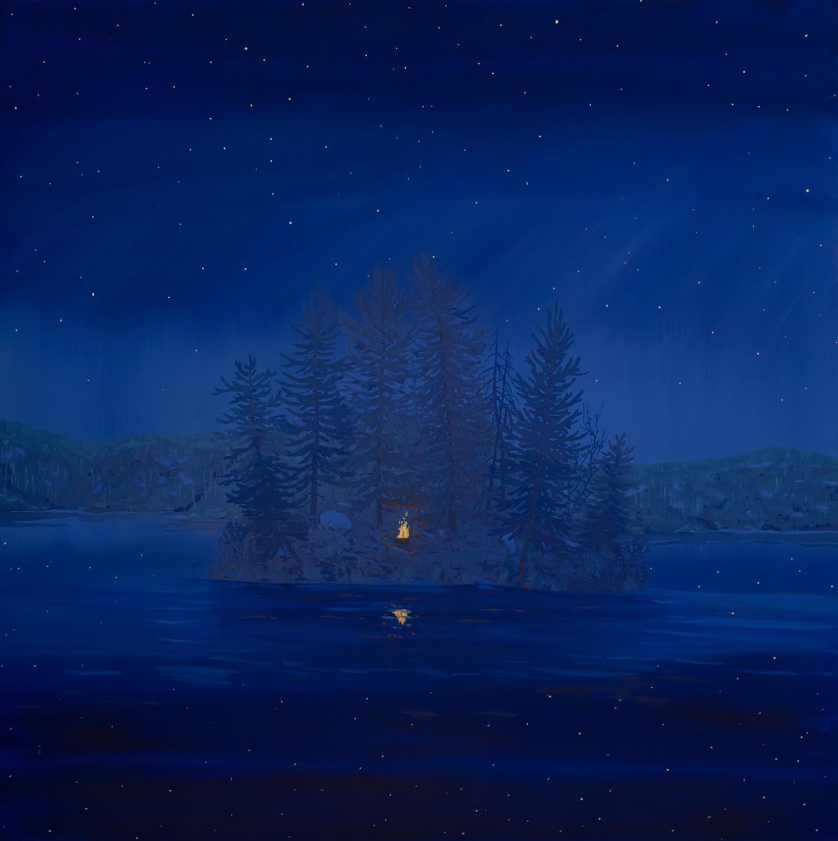 "SEAGULL LAKE ISLAND FIRE, Oil on Canvas, 40 x 40"""